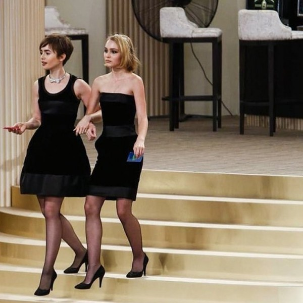 Lily-Collins-Lily-Rose-Depp-Looked-Glamorous-Black-Dresses-Pumps
