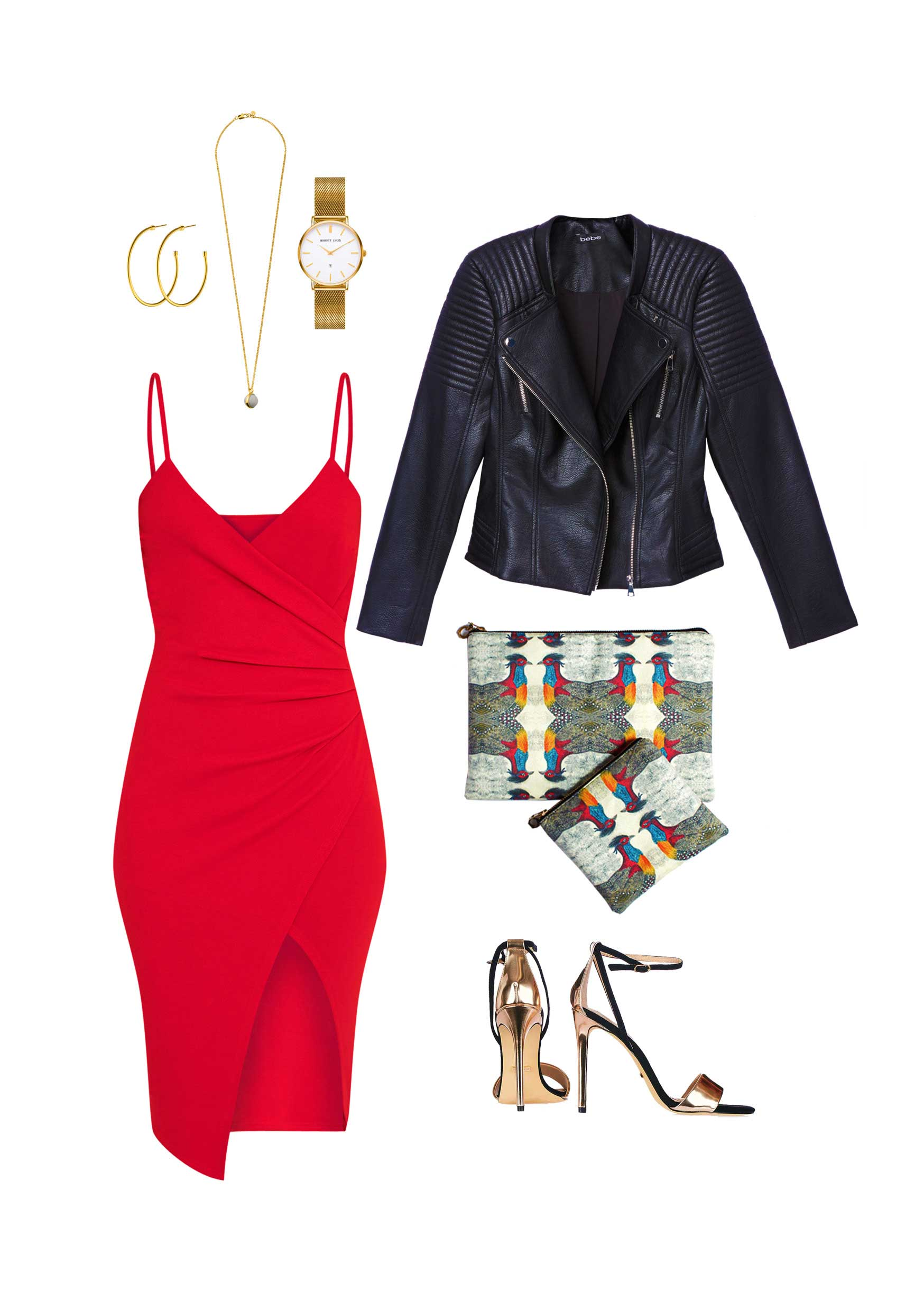 Black dress red heels accessories - Gold Accessories Would Go Perfectly With This Look Alongside A Pair Of Gold Open Toe Heels And Finish With An Oversized Clutch From Patch Nyc